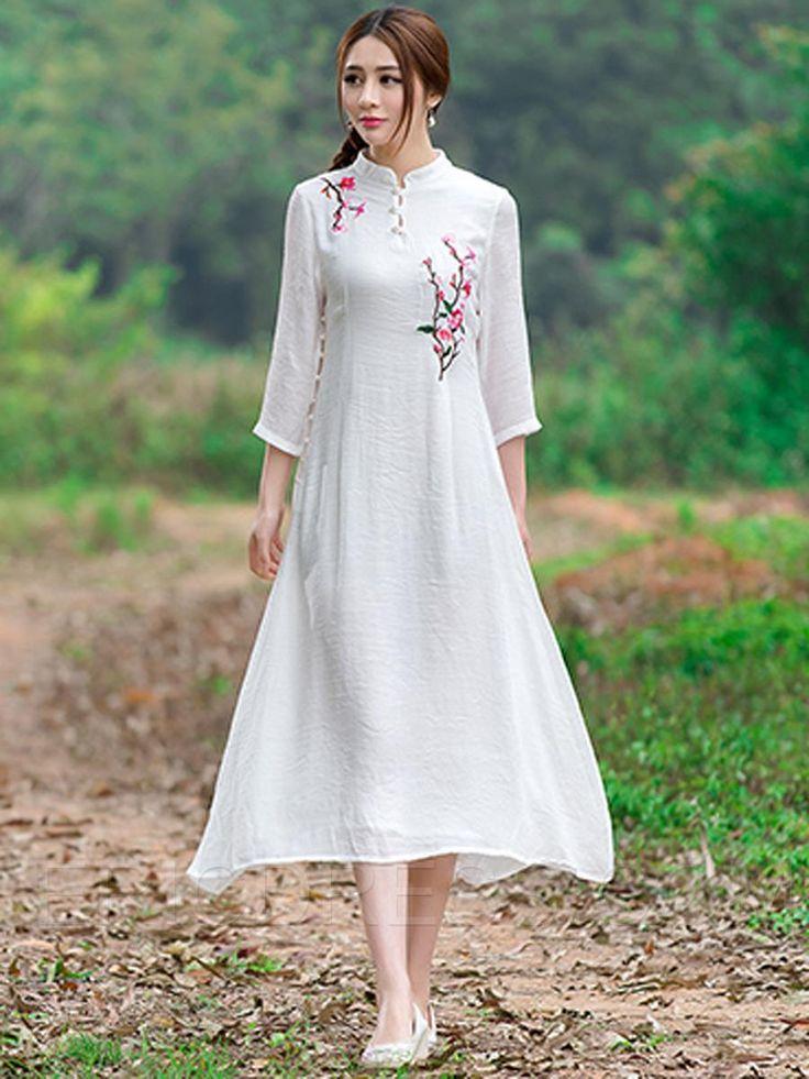Ericdress Mandarin Collar Embroidery Maxi Dress Maxi Dresses