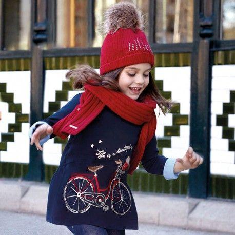 Vestido niña azul marino cuello camisero y bicicleta corazon canalla