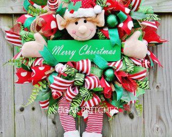 Lime XL & Deco rojo malla vacaciones duende por WreathWhimsybyRobin