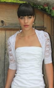 White Lace Bolero with Ruched Sleeves