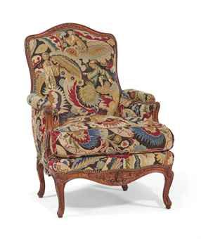 mid 18th c. Louis XV Bergere; In beech molded and sculpted decor and a grenade shells, stamped L.CRESSON on the amount of left back, tapestry blanket in point pattern a lion attacking a horse