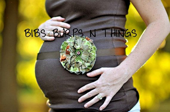 Custom Maternity Photography Prop Belly Band - Maternity Belt - Vintage Flower Camo- Perfect for the Hunter - Photo Prop on Etsy, $18.00