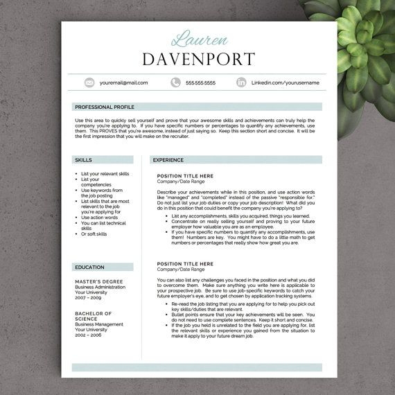 """The Davenport"" Professional yet unique resume template!  By LandedDesignStudio on Etsy"