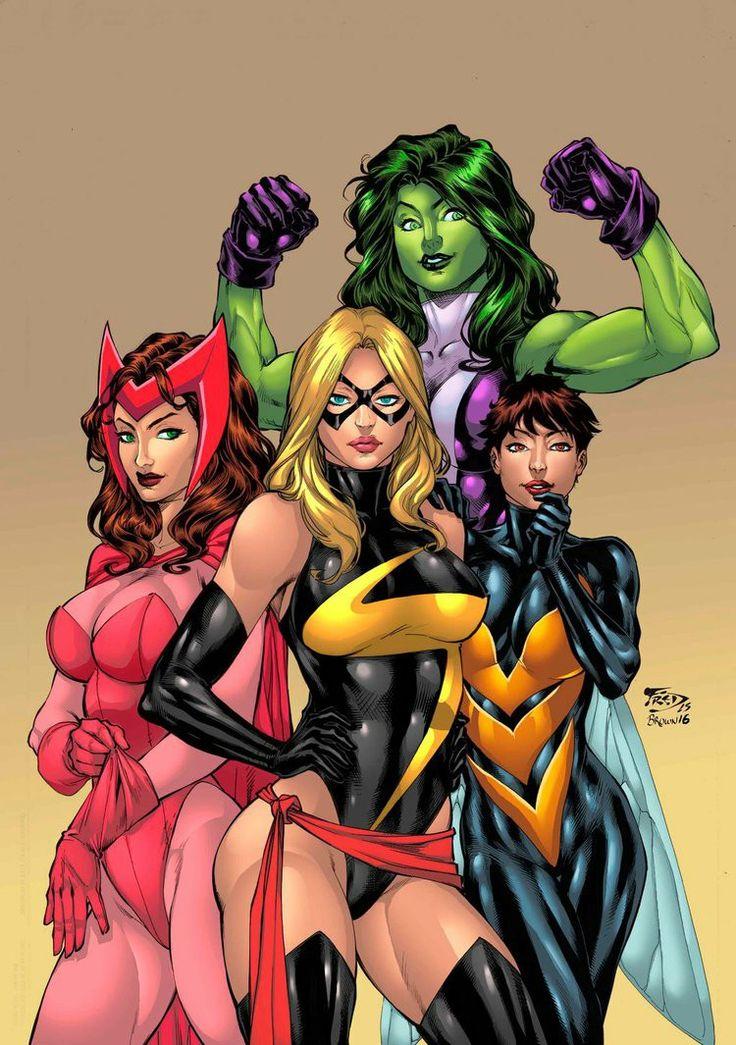 She-Hulk, Wasp, Captain Marvel, & Scarlet Witch