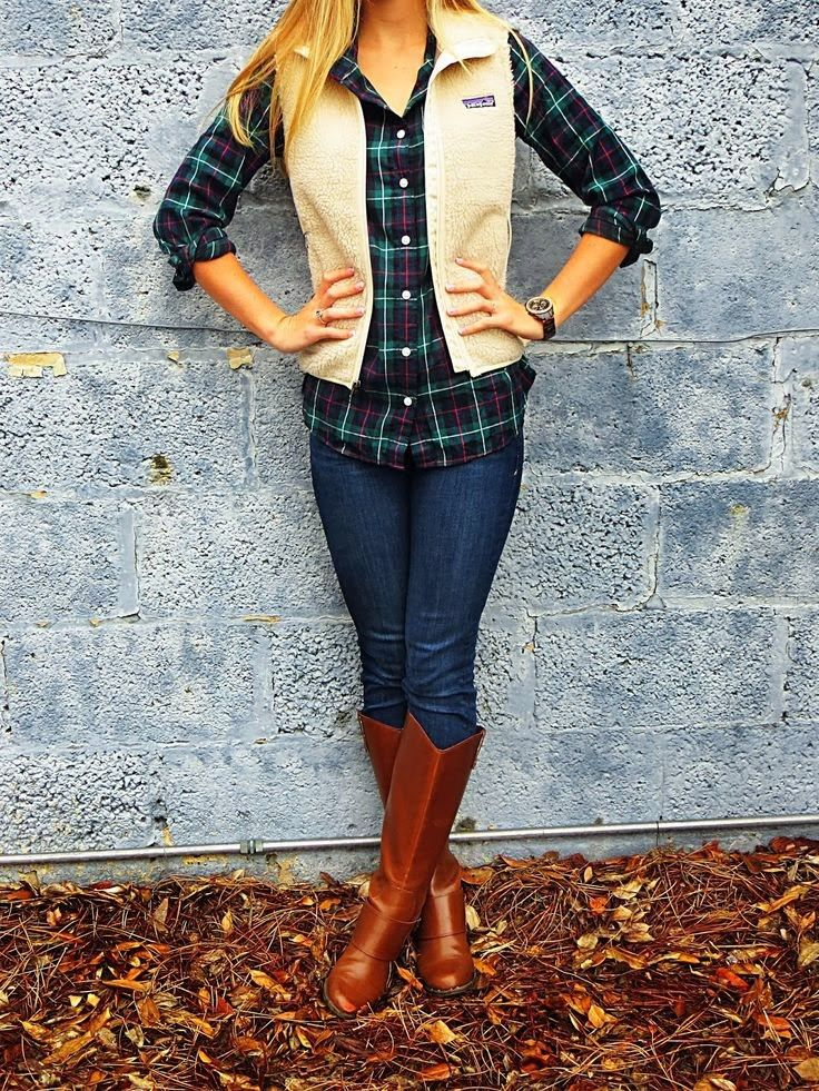Fall Outfit With Long Boots and Tartan