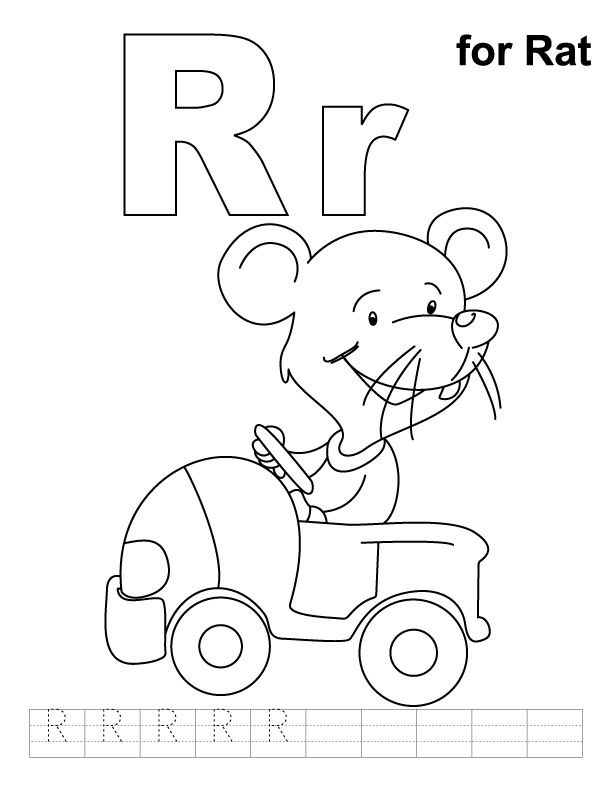 R For Rat Coloring Page With Handwriting Practice Alphabet Coloring Pages Alphabet Coloring Abc Coloring