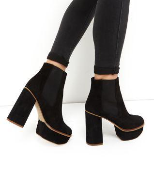 Black Premium Suede Chunky Platform Chelsea Boots