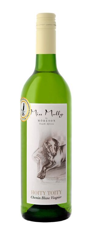 MIss Molly Hoity Toity Chenin Blanc Viognier from South Africa. This white wine has delicate aromas of peach skin fuzz, fresh pineapples, gingersnap and layers of white peach. The Viognier compliments the ripe tropical fruits, leading to a long, savoury aftertaste.