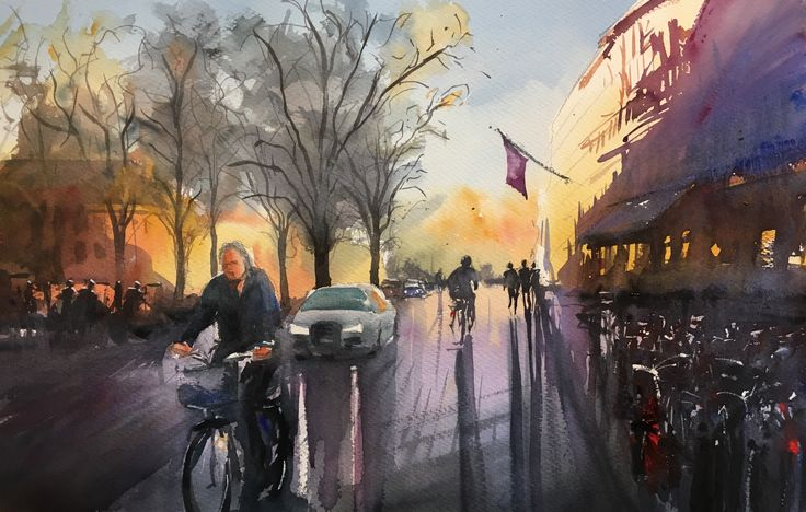 On the way to work. Watercolor Stefan Gadnell