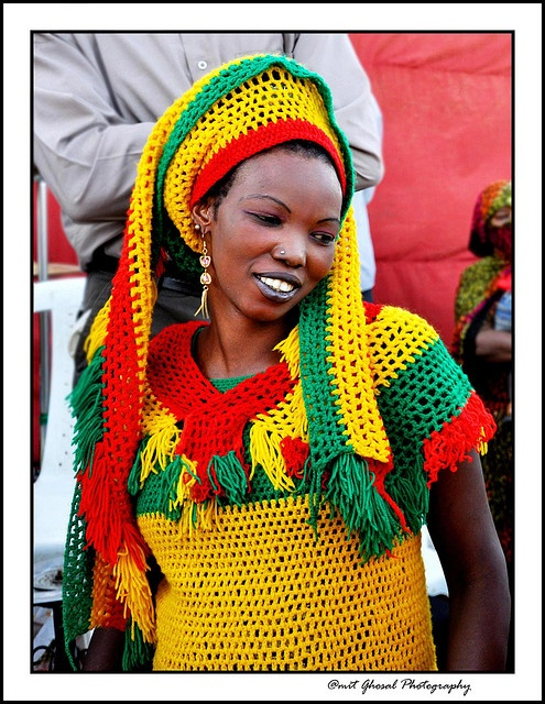 original caption: African Woman....  (addit. I think this photo might actually be of a Jamaican woman ...? -J.S)