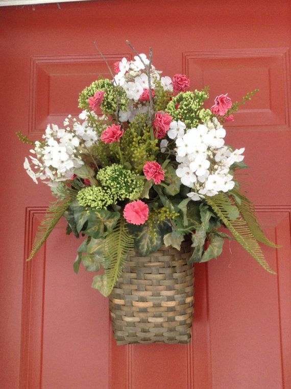Spring wreath summer wreath spring door basket summer Spring flower arrangements for front door