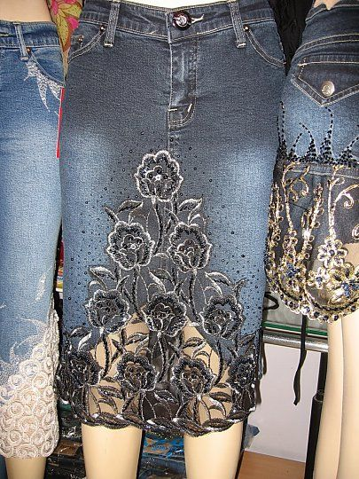 Enlarge picture: Jeans skirts, floral patterns