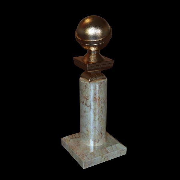 Golden globe award trophy 3D Model- Low-poly 3d model golden globe awards.  The 3ds max 2009 zip file contains also vray materials and textures scenes.  Models formats: 3ds, obj, fbx - formats do not contain materials and textures. Textures are in separate archive. - #3D_model #Other 3D Models