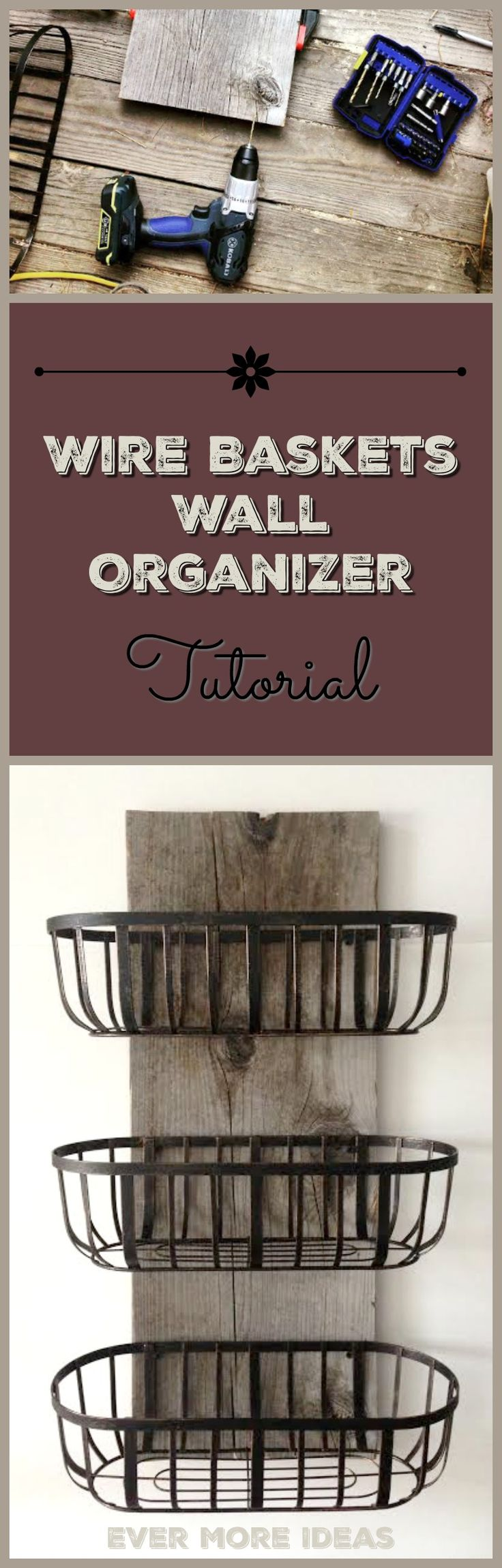Rustic wood and wire baskets organizer. I made this for our kitchen and now it holds all our dishtowels and handtowels. Cheap and easy country farmhouse decor. Could also use in a farmhouse or rustic style bathroom.