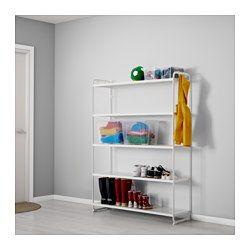 IKEA - MULIG, Reol, hvid, 120x34x162 cm, , Kan også bruges i badeværelser og i andre vådrum indendørs.Hylderne er slidstærke, pletafvisende og nemme at rengøre.Du kan hænge alt fra værktøj og sportsudstyr til håndklæder og vasketøjsposer på reolens korte side med de 4 medfølgende kroge.