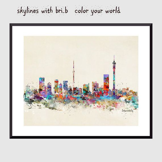 johannesburg south africa skyline .colorful pop art  city skylines in colorful…
