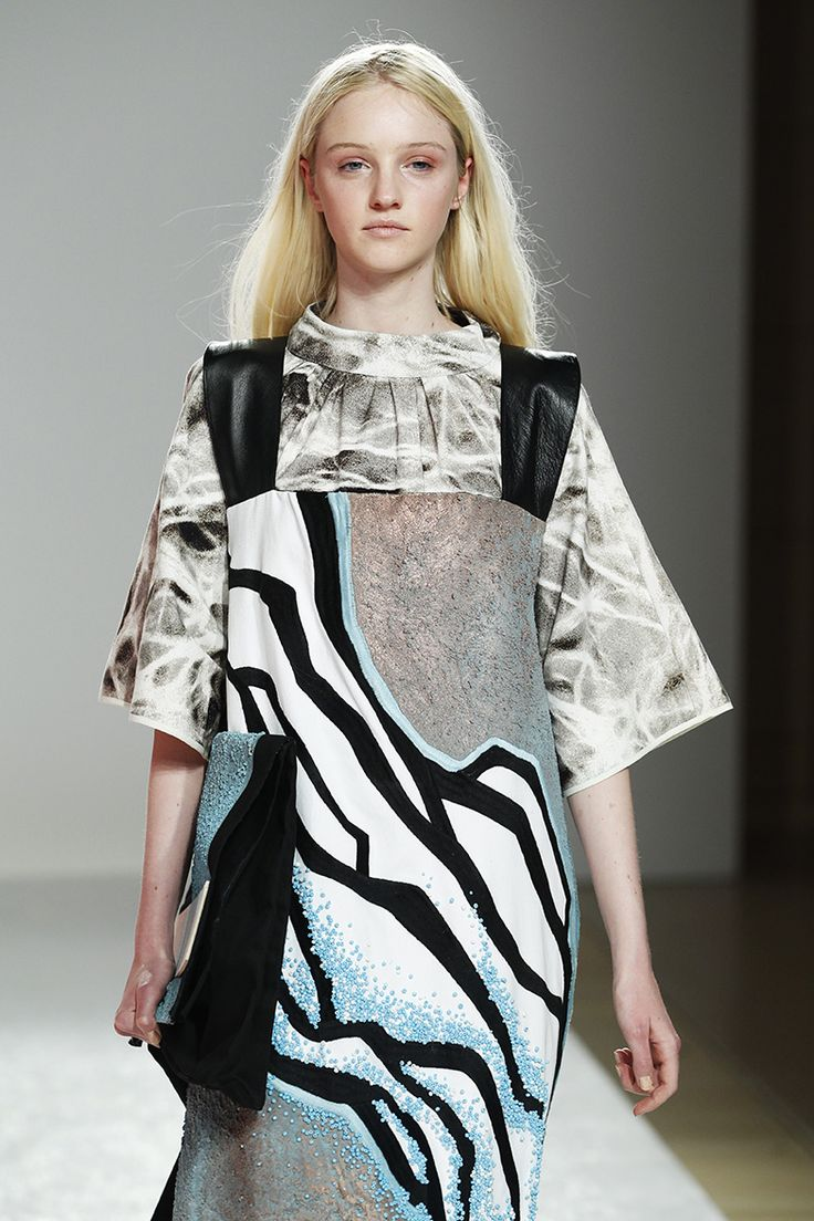 Mixed prints, graphic patterns & beaded textures - high contrast patterned dress; artful fashion design // Yunan Wang 2014