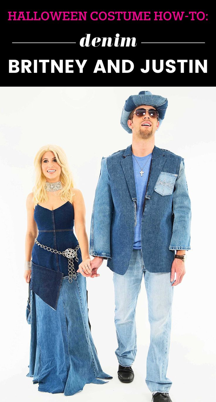 Justin Timberlake and Britney Spears at the 2001 American Music Awards halloween costume. Denim on denim perfection!