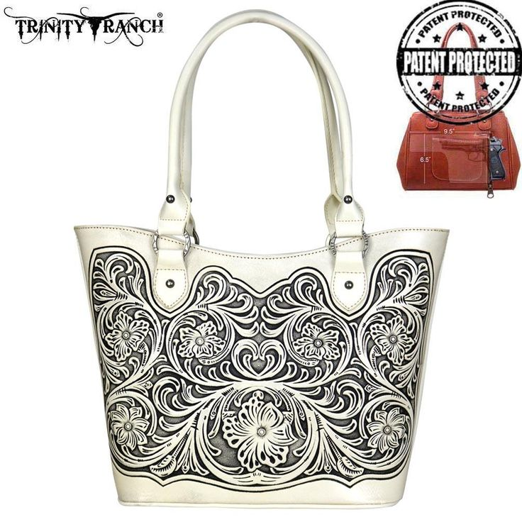 TR42G-8304 Trinity Ranch Tooled Leather Collection Concealed Handgun Tote-White