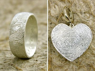 Fingerprint Rings. This is really simple design, but only one in the world if each one have the owner's fingerprint.