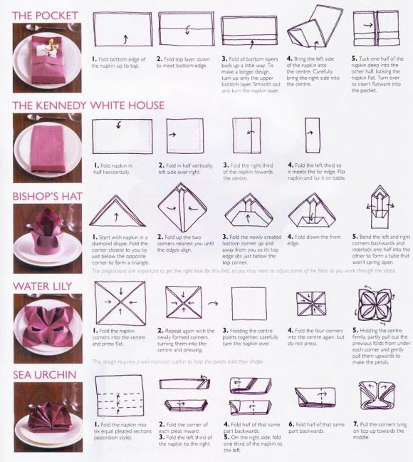 Different ways to fold a napkin Estudio protocolo y organización de eventos, por lo que podéis ver me encanta recibir gente en casa, preparar los cumpleaños de la familia y amigos...  Unos consejos para quedar genial en la mesa.