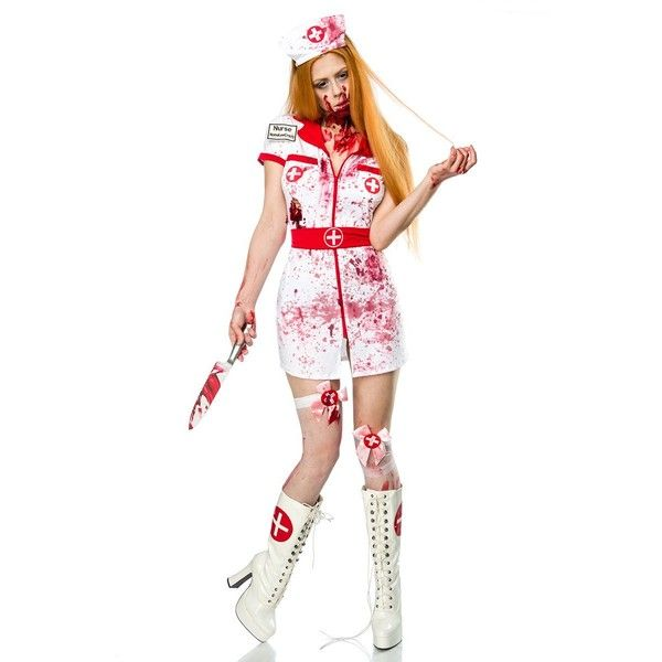 Bloody Nurse Halloween Role-playing Costume ($31) ❤ liked on Polyvore featuring costumes, cosplay costumes, nurse halloween costume, white nurse costume, white halloween costumes and role play costumes