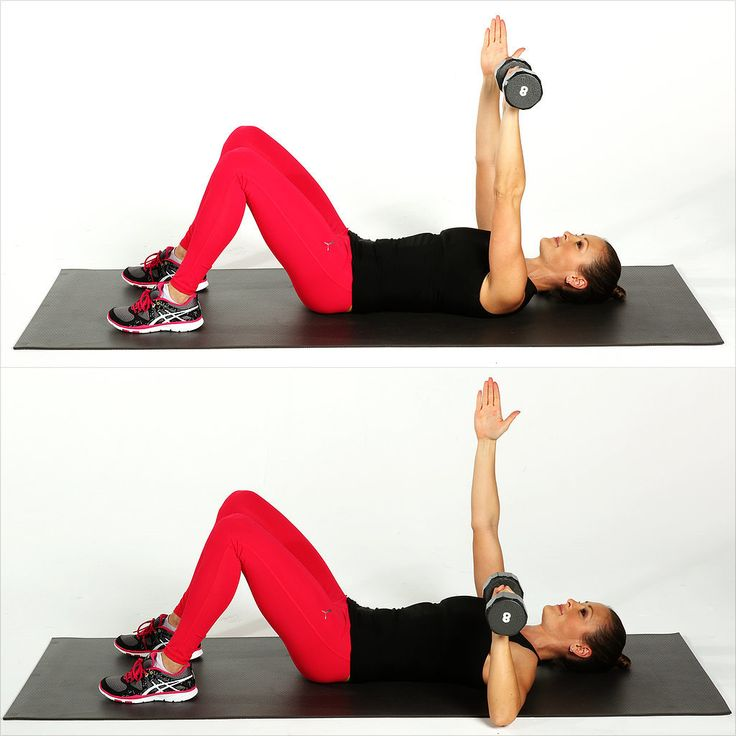Working one arm at a time makes the core work more to stabilize your torso while you work your chest.  Lie on your back with your heels about a foot away from your butt. Hold a dumbbell in your left hand, and bring both hands to the ceiling. Bend your left elbow, lowering your upper arm to floor. Exhale and straighten your elbow, pressing the weight back to the ceiling to complete a rep. Do 15 reps, then switch arms.   Use a five- to 15-pound weight.