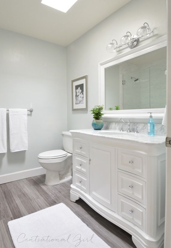 Beautiful Beautiful Bathroom Remodel   Walls Glidden Chelsea Fog, Vanity From Wayfair    KBC Datherine 48