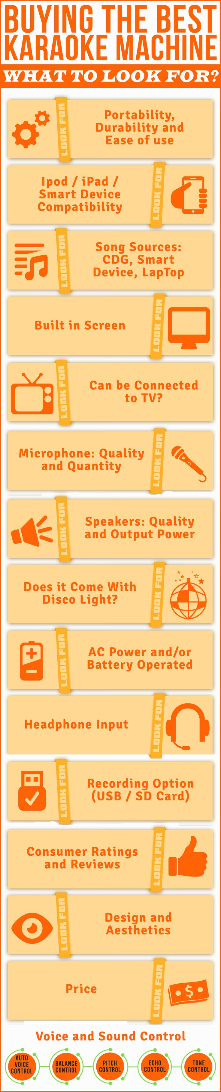 Buying a Karaoke Machine can sometimes be tiring and confusing. It's not easy to know what features to look for and what specifications to have in mind. This chart is a great summary of the main features to consider when you are looking for such systems. If you are in search of the best karaoke machine for adults or kids, this is a must have to help you make an informed decision. #infographic