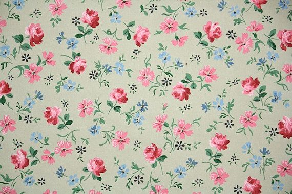 1930s Vintage Wallpaper - Vintage Kraft Paper Floral Wallpaper with Pink Roses and Blue Flowers Raining Down