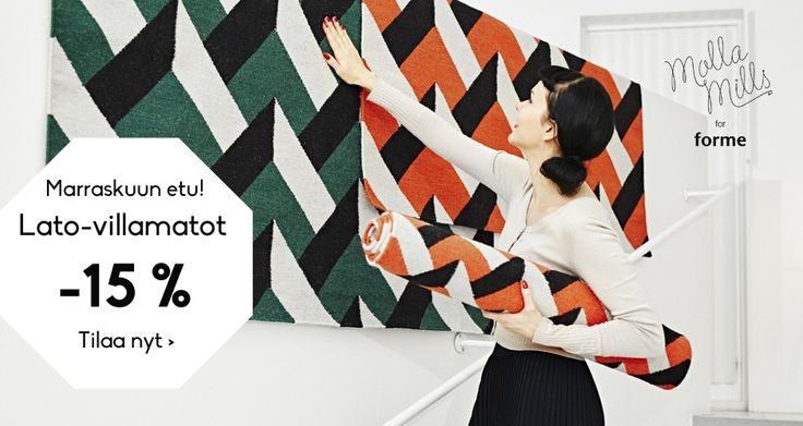 Forme rugs from Finland are made from paper yarns and recycled cotton from European fashion industry.