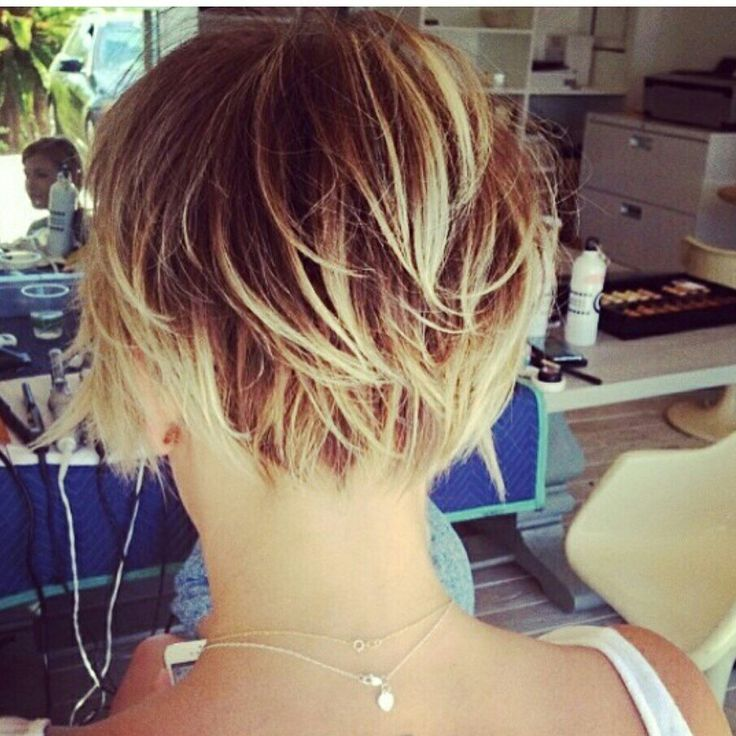 Back of bob. I love how its short enough to be off your neck but the layers still look long.
