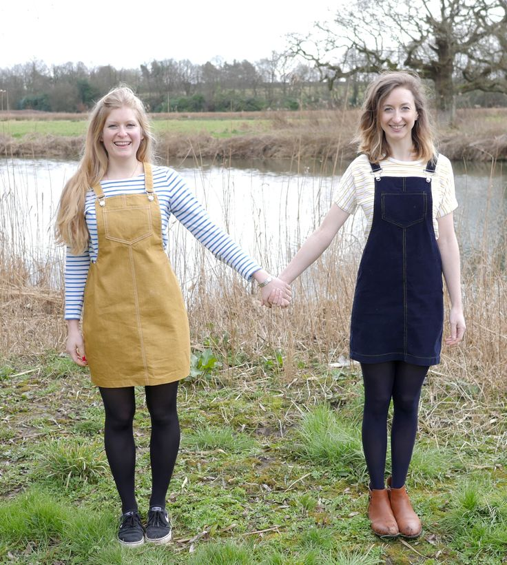 Lexy and Sophia in their Cleo dungaree dresses - sewing pattern by Tilly and the Buttons