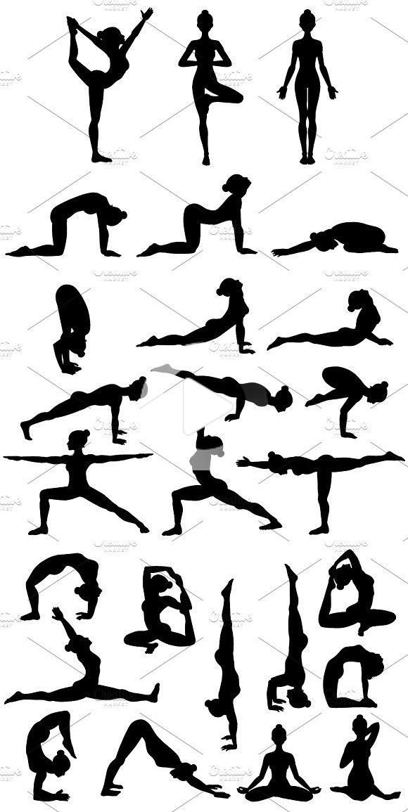 26 Yoga Poses Silhouettes Part 1 In 2020 Yoga Drawing Yoga Background Yoga Poses