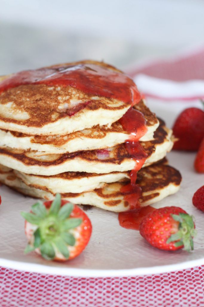 Strawberry Buttermilk Pancakes With Fresh Strawberry Syrup Recipe Strawberry Syrup Recipes Tasty Pancakes Fresh Strawberry Syrup Recipe