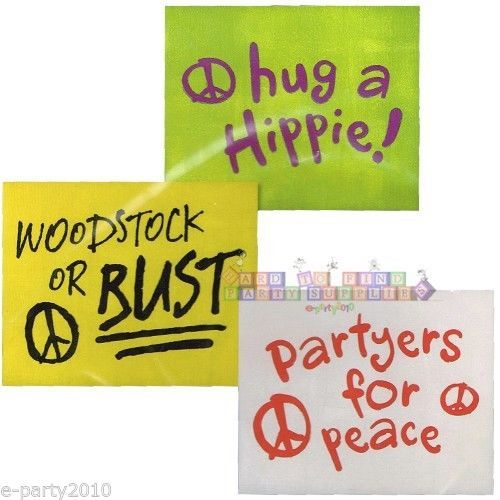 (3) 60s PROTEST SIGNS WALL DECORATIONS ~ Birthday Party Supplies Hippie Peace | eBay