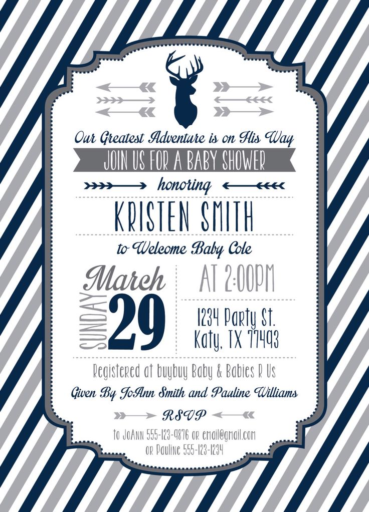 Deer Head and Arrows - Our Greatest Adventure - Baby Shower Invitation - Custom Colors - Digital Invitation - Personalized - Print From Home by AmyDobbinsDesign on Etsy https://www.etsy.com/listing/231075954/deer-head-and-arrows-our-greatest