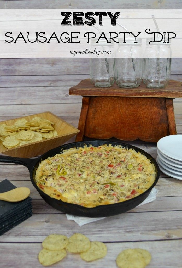 If you are looking for a great dip to serve at your next party, this Zesty Sausage Party Dip is it. Served warm with bread or tortilla chips, it is a great way to start your party off with a bang! #yesyoucan #ad