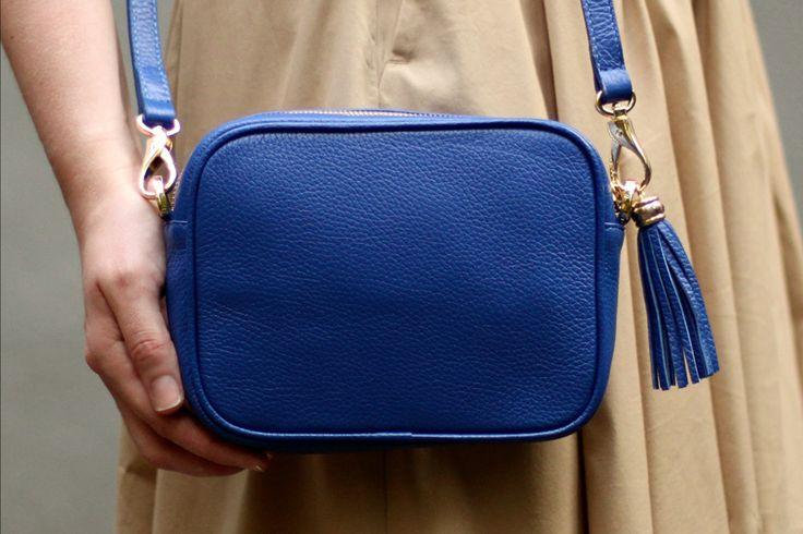 Синяя кожаная сумка Leah