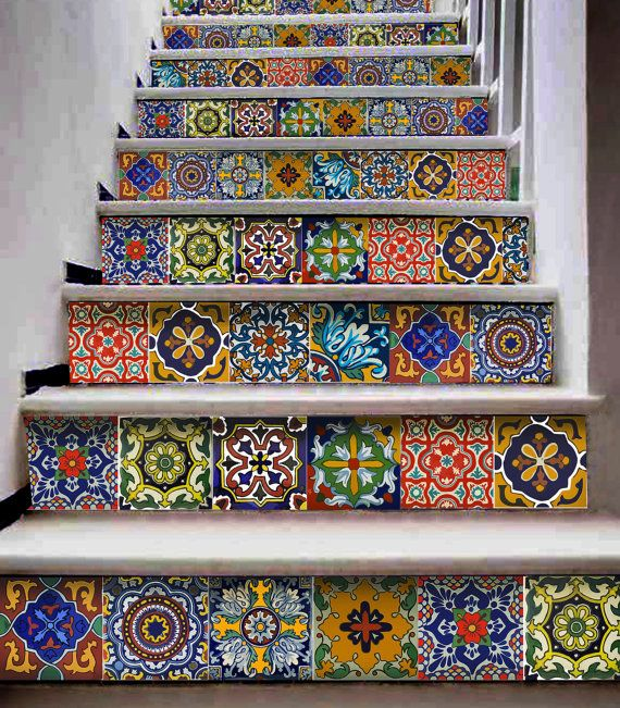 Hey, I found this really awesome Etsy listing at https://www.etsy.com/listing/202165739/stait-case-tile-decal-mexican-talavera