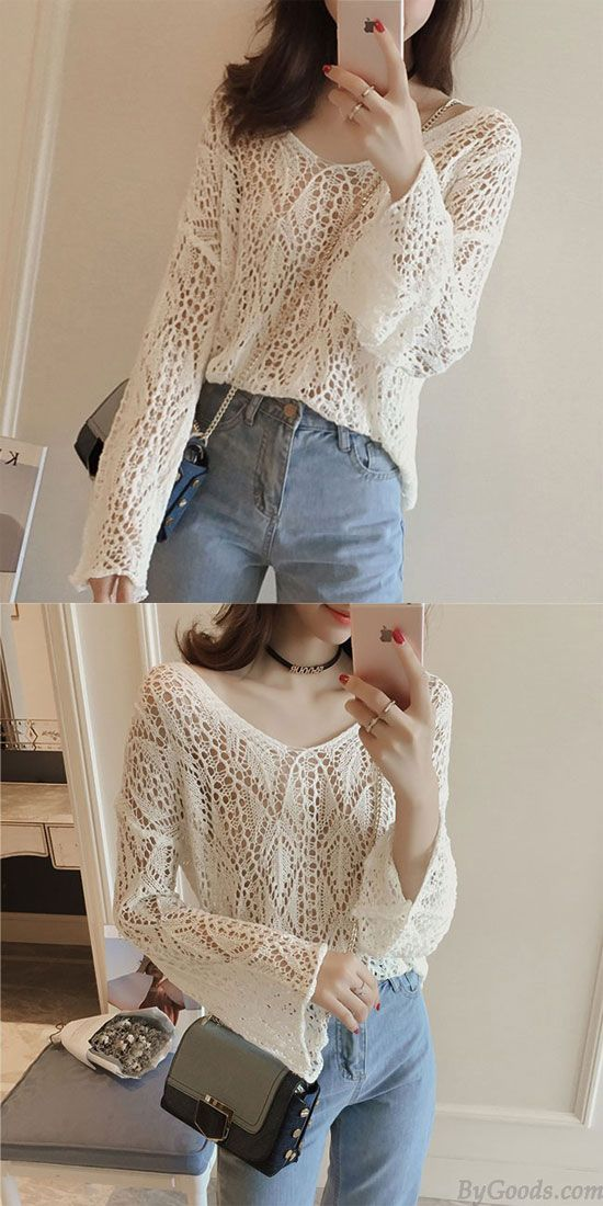 Fashion Girl's Spread Collar Flare Long-sleeved Hollowed-out See-through Irregular Sweater for big sale! #fashion #collar #flare #hollow #irregular #sweater