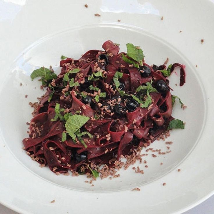 Chocolate Pasta with a Blackcurrant and Ginger Sauce.  The powerhouse blackcurrant berry is jam-packed with potassium, which helps to lower high blood pressure, and contains triple the vitamin C in oranges.