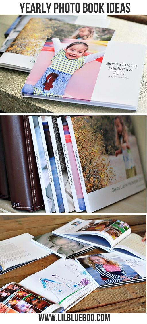 """Really good ideas of """"extras"""" to put in the family yearbook (like kid quotes, art work, ect)."""