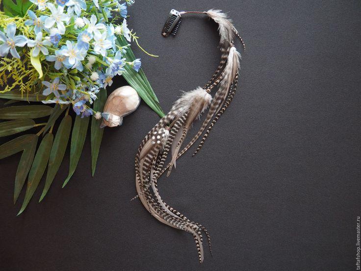 Игра в шашки - полосатые перья для волос на съемной заколке - полосатый, перо, перья