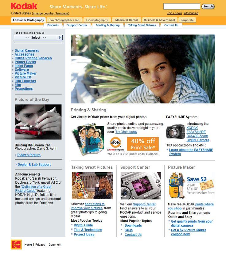 Kodak website in 2003