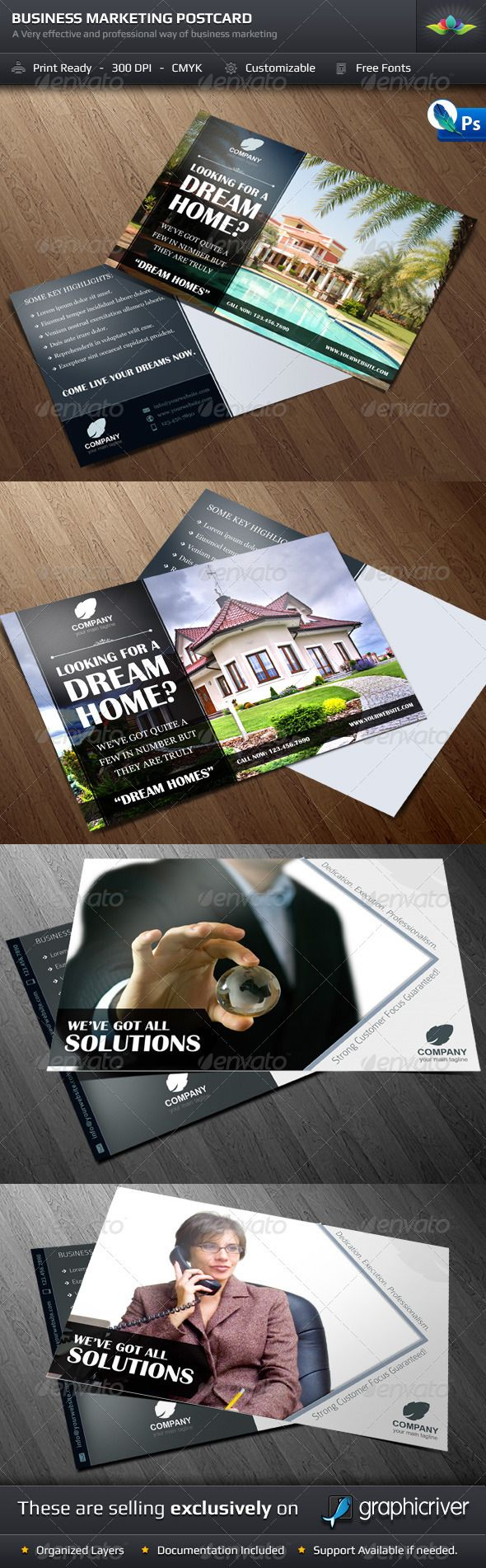 Business Marketing Postcard Template Set $6.00