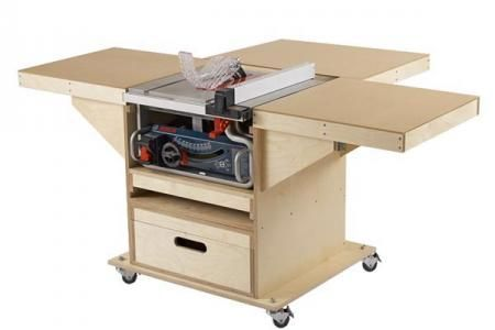 This easy-to-build mobile tool stand packs a shop full of convenience in a small package. With a footprint of less than 7 square feet when folded, this tool stand expands into a massive 17-square-foot tablesaw work surface. And it's multi-talented—to switch to a router table simply slide out the on-board router drawer. While we show this mobile base with a Bosch GTS1031 bencthtop tablesaw, the base was designed to fit many similarly sized tablesaws. Before building the station, measure your…