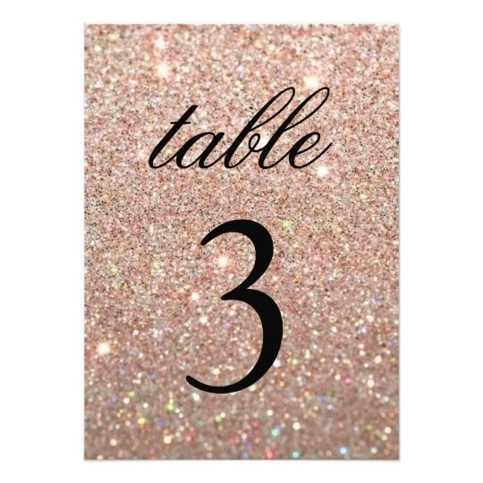 Table Number Card - Rose Gold Glit Fab