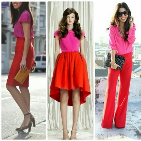 rosso (o arancio) e rosa shocking/fucsia: lo sto vedendo da tutte le parti