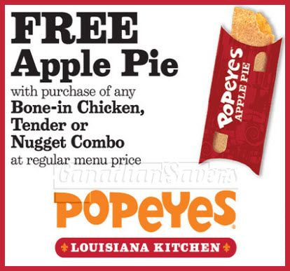 Popeyes Canada Coupon: FREE Apple Pie with Purchase ...
